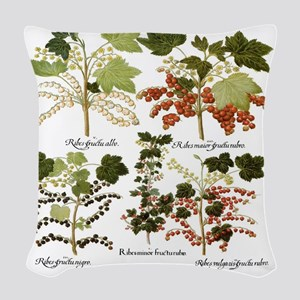 Vintage Currants by Basilius B Woven Throw Pillow