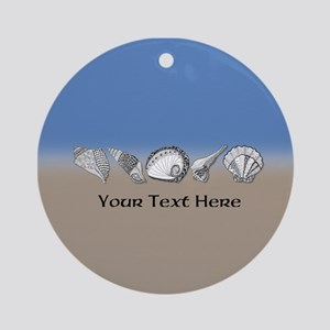 Beach Seashell Theme Art Personalizable Ornament (