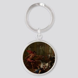 Perseus Confronting Phineus with th Round Keychain