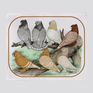 Classic Frill Pigeons Blondinettes Throw Blanket