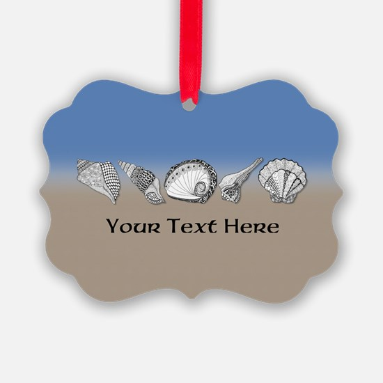 Beach Seashell Theme Art Personalizable Ornament