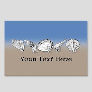 Beach Seashell Theme Art Personalizable Postcards