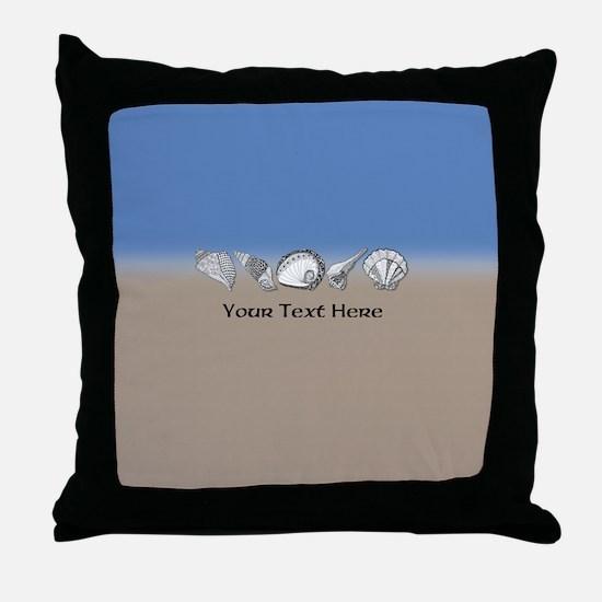 Customized Beach Seashell Art Collect Throw Pillow