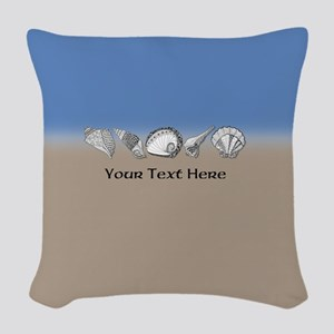 Customized Beach Seashell Art Woven Throw Pillow