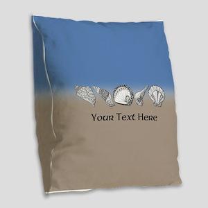 Customized Beach Seashell Art Burlap Throw Pillow
