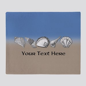 Customized Beach Seashell Art Collec Throw Blanket