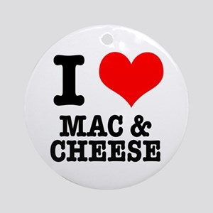 I Heart (Love) Mac & Cheese Ornament (Round)