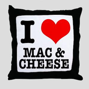 I Heart (Love) Mac & Cheese Throw Pillow