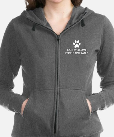 Cats Welcome People Tolerated Zip Hoodie
