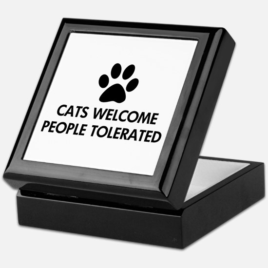 Cats Welcome People Tolerated Keepsake Box
