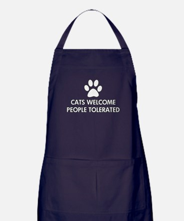 Cats Welcome People Tolerated Apron (dark)