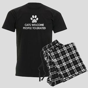 Cats Welcome People Tolerated Men's Dark Pajamas