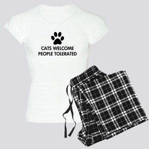 Cats Welcome People Tolerated Women's Light Pajama