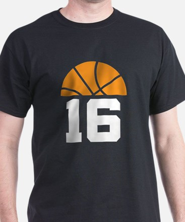 Basketball Number 16 Player Gift T-Shirt