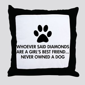 Girl's Best Friend Dog Throw Pillow