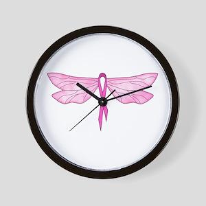 Breast Cancer Dragonfly Wall Clock