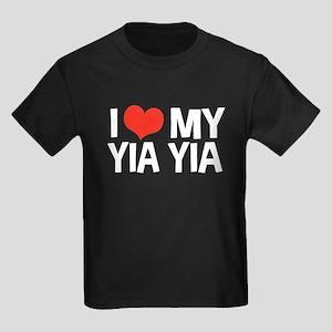 I Love My Yia Yia Kids Dark T-Shirt