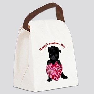 Happy Valentine's Day Black Pug Canvas Lunch Bag