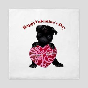 Happy Valentine's Day Black Pug Queen Duvet