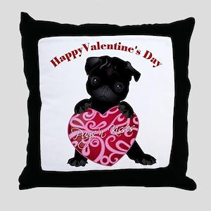 Happy Valentine's Day Black Pug Throw Pillow