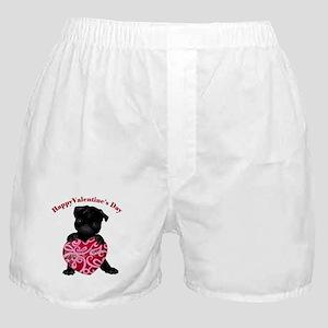Happy Valentine's Day Black Pug Boxer Shorts