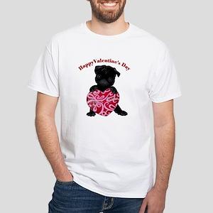 Happy Valentine's Day Black Pug White T-Shirt