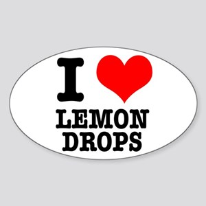 I Heart (Love) Lemon Drops Oval Sticker