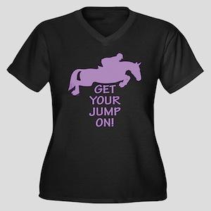 Horse Jump On Women's Plus Size V-Neck Dark T-Shir