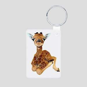 baby giraffe Aluminum Photo Keychain