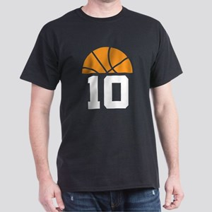 Basketball Number 10 Player Gift Dark T-Shirt