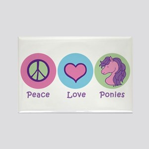 Peace Love Ponies Rectangle Magnet