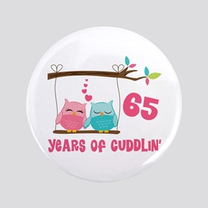 "65th Anniversary Owl Couple 3.5"" Button"
