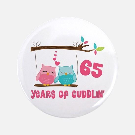 "65th Anniversary Owl Couple 3.5"" Button"