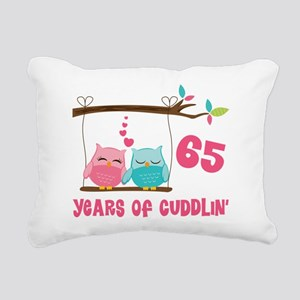 65th Anniversary Owl Couple Rectangular Canvas Pil