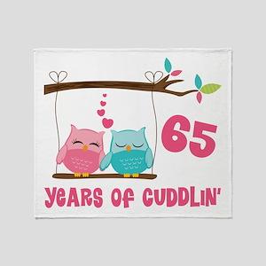 65th Anniversary Owl Couple Throw Blanket