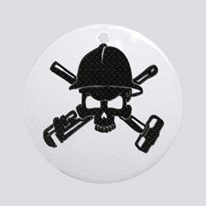 black diamond plate oilfield skull Ornament (Round
