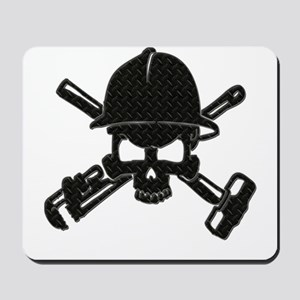 black diamond plate oilfield skull Mousepad