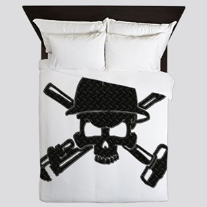 black diamond plate oilfield skull Queen Duvet