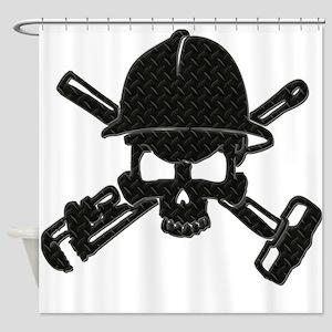 black diamond plate oilfield skull Shower Curtain
