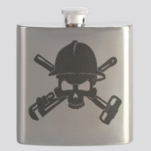 black diamond plate oilfield skull Flask