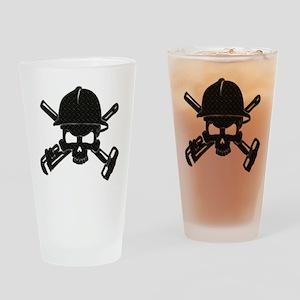 black diamond plate oilfield skull Drinking Glass
