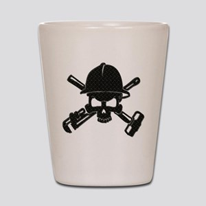 black diamond plate oilfield skull Shot Glass