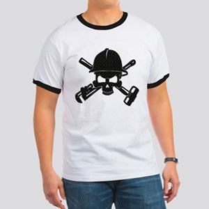 black diamond plate oilfield skull T-Shirt