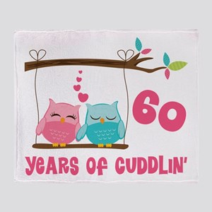 60th Anniversary Owl Couple Throw Blanket