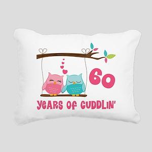 60th Anniversary Owl Couple Rectangular Canvas Pil