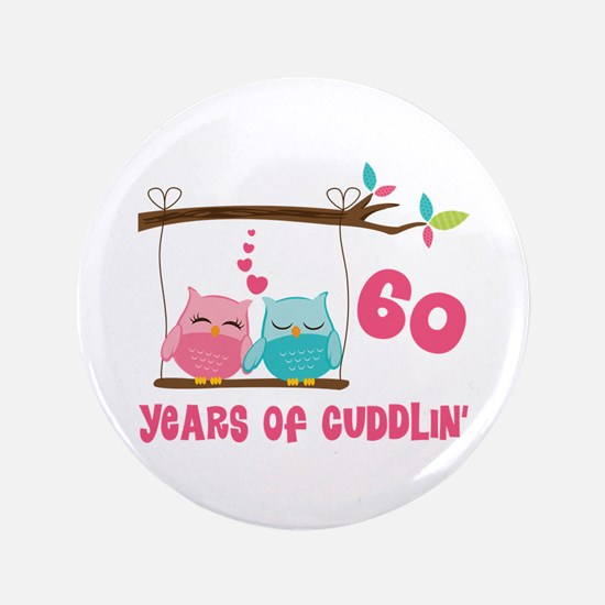 "60th Anniversary Owl Couple 3.5"" Button"