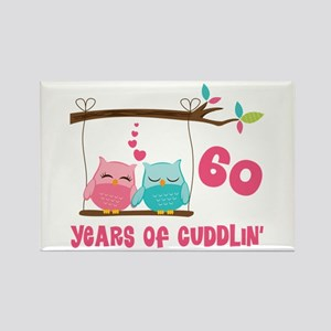 60th Anniversary Owl Couple Rectangle Magnet