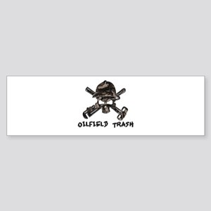 Riveted Metal Oilfield Trash Skull Bumper Sticker