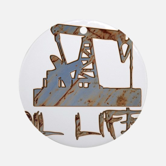 Oil Life Pumpjack Rusty Metal Ornament (Round)