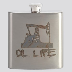 Oil Life Pumpjack Rusty Metal Flask